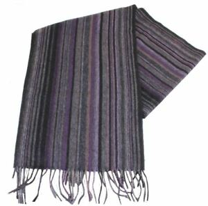 Bassin and Brown Mens Stefano Striped Wool Scarf - Purple/Grey
