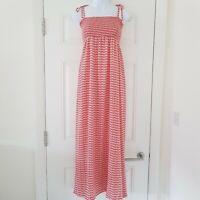 HUSH Summer Boat Print Shirred Maxi Sun Dress Size UK 8 Tie Strap Small Blogger