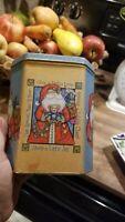 Vintage Santa Claus Christmas  Octagonal Cookie Tin 1980's Home Décor beautiful