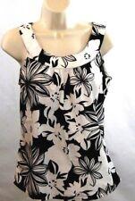 Ann Taylor Womens Top Size 4 Floral Hawaiian Cute Black White Print Sleeveless