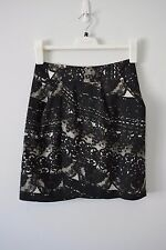 PORTMANS A Line Skirt Size 8 Small Grey Black Lined Cocktail Satin