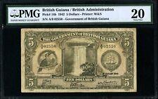 British Guiana, Pick -14b, 5$, 1942 * King George VI *PMG 20 VF* Extremely Rare!