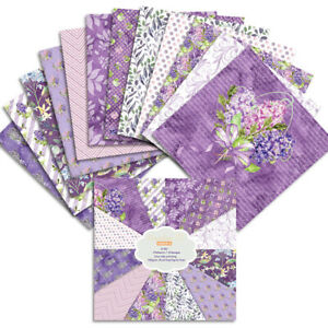 12Pcs Purple Flower Paper Pad Scrapbooking Album Card Making DIY Craft Supplies