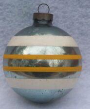 Vintage Shiny Brite Blue Stripe Mecury Glass Christmas Ornament