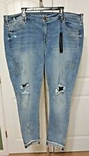 LANE BRYANT PLUS SIZE 24 STRETCH DENIM SKINNY EMBROIDERED ANKLE JEANS NWT