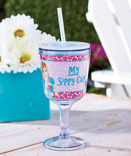 Plastic Wine Goblet My Sippy Cup Sassy Quote Insulated Beverage Drink Tumbler