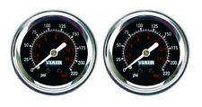 "2 Pack Viair 2"" Single Needle Black Face Gauge (90090) 220 PSI Max Air Ride"