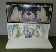 Fine Ceramic Luster 3pc Swan Vase Set