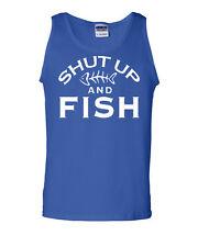 Shut Up And Fish Funny Tank Top Fishing Gag Gift Hobby Camping Bass Catfish