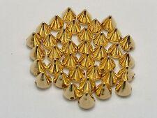 200 Golden Metallic Rock Punk Spike Rivet Acrylic Taper Stud Beads 6X6mm