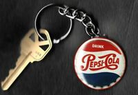 Pepsi-Cola Vintage Bottle Cap Red White Blue Keychain Key Chain
