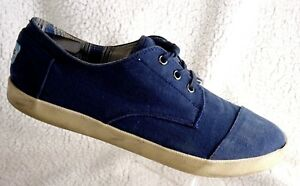 Toms One for One Men's 10.5 Blue Canvas Lace Up Shoes