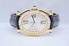 CHOPARD HAPPY SPORT OVAL 34MM 18K YELLOW GOLD DIAMOND ENCRUSTED WATCH 27/7000-23