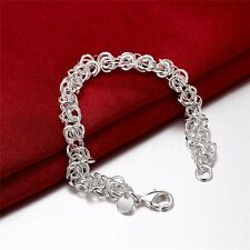 Stunning 925 Sterling Silver Classic High Polished Link Bracelet Chain
