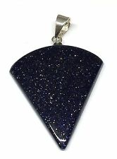 Funky 925 Handmade One Off Polished Blue Goldstone Pendant Sterling Silver Bale
