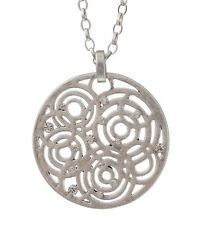 £40 Celtic Geometric Silver Round Pendant Necklace Swarovski Elements Crystal