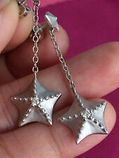 TIFFANY & CO 18K 18Kt White Gold STARFISH Earrings with Diamond - RARE / RETIRED