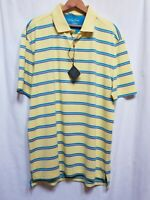 Bobby Jones Men's X-H20 Canary Stripe Short Sleeve Polo Shirt Size L NWT