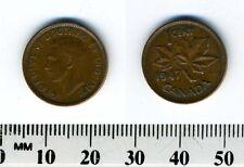 Canada 1947 - 1 Cent Bronze Coin - King George VI - Plain