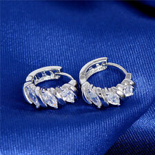 Fashion Woman Silver Plated Cubic Zirconia Leaf Rinestone Hoop Huggie Earrings