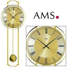 AMS Wall Clock 7083 Quartz Pendulum Metal Housing Watch Living Room