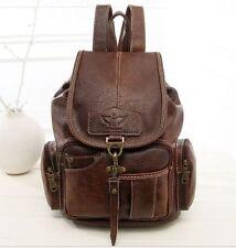 Vintage Women Leather Backpack bags Messenger rucksack laptop bag Dark brown