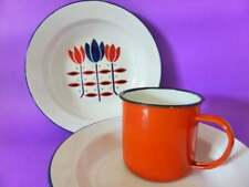 Vintage Enamel Plates & Mug, Vintage Bumper Harvest Enamelware, Country Kitchen