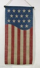 Patriotic 4th of July Americana Burlap Flag Star Stripes Wall Banner Decoration