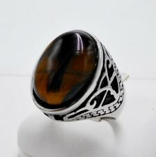 MEN RING BROWN TIGER'S EYE STONE SYN STAINLESS STEEL SILVER SOLITAIRE VTG SZ 9.5