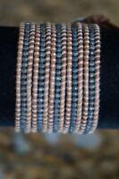 NEW Chan Luu Men Women Gunmetal Nugget Natural Brown Leather 5 Wrap Bracelet