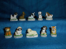 DOGS Puppies PUPPY Set of 10 Mini Figurines FRENCH Porcelain FEVES Figures MATTE