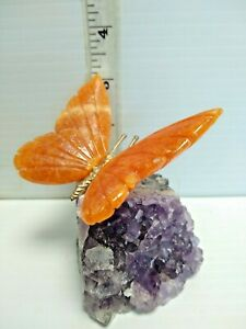 beautiful Hand-carved Brazilian STONE BUTTERFLY made from amethyst and various