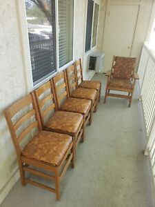 Antique L&JG Stickley Mission Oak Chairs And Table Lot