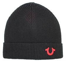 True Religion Brand Jean BIG LOGO Cashmere Watchcap Ribbed Beanie Hat TR1828 NEW