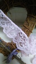 """65mm/2.5"""" Nottingham Pretty Flower Gathered Frilled Lace *FREE 1ST CLASS POST*"""