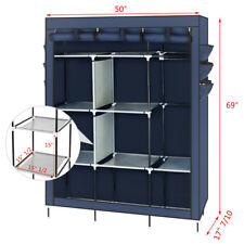 "Portable 69"" Closet Storage Organizer Wardrobe Clothes Shoe Rack with Shelves US"