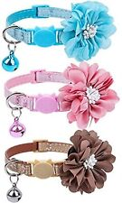Adjustable Breakaway Cat Collars Set - with Bell Charm 3 Pcs Necklace