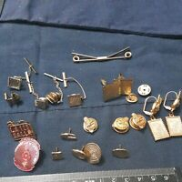 Lot of 20 Vintage Cufflinks, Tie Tacks, Tie Clasps pins