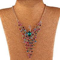 Pfau Halskette bunten Strass Perlen Vogel Fluegel Gold C6W2