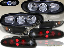 98-02 Chevy Camaro Halo Headlights Black + Bumper Lights + Blk Smoke Tail Lights