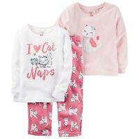Carter's Girl's 3 Piece PJ Set - Cat Nap NWT 4T