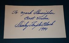 """SHIRLEY TEMPLE /  5 x 3""""  AUTOGRAPHED  CARD"""