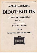 Publicité Advertising 026 1917 Didot-Bottin annuaire du Commerce