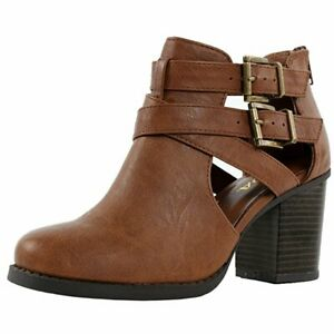 Soda Scribe Tan Vegan Leatherette Cut Out Buckle Chunky Heel Ankle Bootie