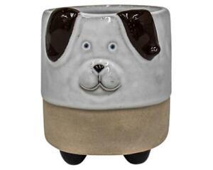 Dog Pot/Planter Ceramic Indoor/Outdoor Home Garden Decor