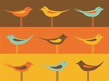 ART PRINT POSTER PAINTING DRAWING DESIGN CARTOON BIRDS TILE TESSALATION LFMP0581