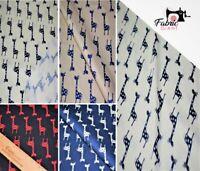 Printed Poplin 100% Cotton, High Quality, Giraffe Print Fabric,112 cm wide,4 Col