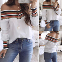 Women Spring Casual One Shouder Long Sleeve Off Shoulder Top Blouse