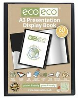 eco-eco A3 50% Recycled 60 Pocket Black Folder Presentation Display Book
