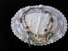 "Vtg. Southwest Long 47 1/2"" Glass Beads, Stones, & Sterling Treasure Necklace"